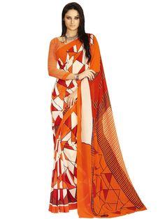 Pleasing orange and off white color geometric print georgette saree. Item code : SANA4029 http://www.bharatplaza.com/new-arrivals/sarees.html
