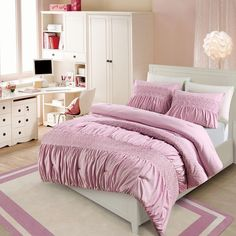 Vcny Janeth Rouched Eyelet 3-piece Comforter Set