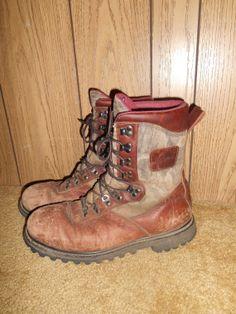 Vintage boots mens  brown Leather camo by ATELIERVINTAGESHOP, $60.00