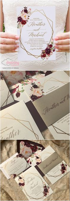 Boho Floral Geometric / Geometry Wedding Invitation Set - Marsala Burgundy and Pink Flowers with choice of color Geometry #weddings #invitations #weddingideas