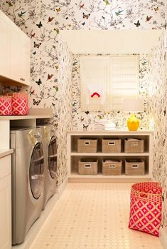 Laundry Room Ideas (I could make some sort of faux window in my tiny laundry space and use this wall paper!)