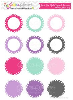 INSTANT DOWNLOAD,  just for girls labels, scalloped frame clipart,  printable labels,  pink, purple, invitations, scrapbook, digital frame