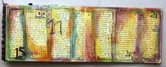 This weeklong page was originally inspired by this awesome art journal page. I did mine differently but similar idea. This week I mostly just added text and basic stamps. here's the left page: And ...