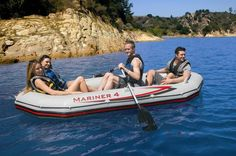 "Intex Boot - Schlauchboot Set ""Mariner 328 x 145 cm - Art. Spa, Intex Pool, Outdoor Furniture, Outdoor Decor, Marines, Rib Boat, Paddles, Sitting Cushion, Yard Furniture"