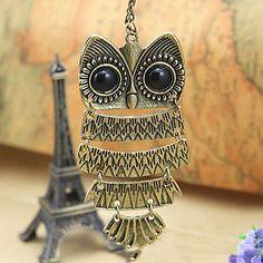 Vintage (Owl Pendant) Gold Alloy Pendant Necklace (1 Pc) – USD $ 4.99