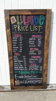 2ft by 4ft LuLaRoe Price & Follow Me Chalkboard by ChalkTalkQueen on Etsy