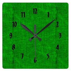 #customized - #Green Canvas Texture Square Wall Clock
