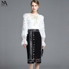 New Arrival 2017 Autumn Women's O Neck Long Sleeves Embroidery Ruffles Lace Blouse With Split Pencil Skirt Runway Twinsets