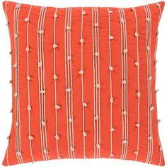 "Raya Coastal Striped Orange Pillow - (Down/Poly Fill 22"" x 22"") (Polyester - Accent), Size 22 x 22"