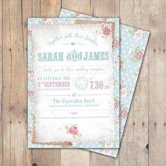 Personalised 'Shabby Rose' Wedding Invites Evening