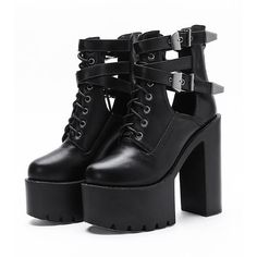 Black Lace Up Buckle Strap Heeled Platform Ankle Boots ($57) ❤ liked on Polyvore featuring shoes, boots, ankle booties, ankle boots, black lace up boots, black bootie, lace-up booties and laced up platform booties