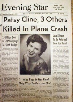HISTORY, March 1963 Country music star Patsy Cline dies in plane crash Newspaper Article, Old Newspaper, Country Music Stars, Country Singers, Front Page News, Patsy Cline, Newspaper Headlines, Celebrity Deaths, Famous Graves
