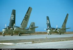 Royal Netherlands Navy/Koninklijke Marine Grumman S-2F Trackers at Naval Air Station Hato, Curaçao, Netherlands Antilles.