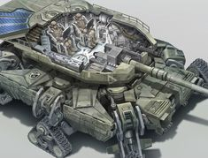 Futuristic tank design, utilizing tread pods (my term), for propulsion, and stabilisation when firing main gun. Arte Sci Fi, Sci Fi Art, Science Fiction, Army Vehicles, Armored Vehicles, Concept Ships, Concept Art, Futuristic Art, Futuristic Vehicles