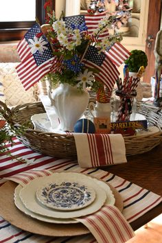 Stars and Stripes Forever Patriotic Tablescape Fourth Of July Decor, Happy Fourth Of July, 4th Of July Celebration, 4th Of July Decorations, 4th Of July Party, July 4th, Church Decorations, The Bottle Rockets, Patriotic Crafts