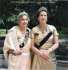 Marie Bonaparte wearing a star tiara with her daughter Princess Eugenie of Greece wearing a magnificent sapphire & diamond necklace