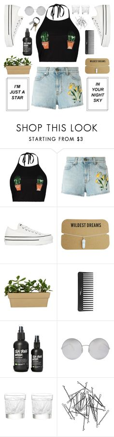 """""""i never sat by the shore, under the sun with my feet in the sand"""" by shannonmarie-xo ❤ liked on Polyvore featuring Boohoo, Gucci, Converse, Sephora Collection, Victoria Beckham, Lalique, Monki and CB2"""