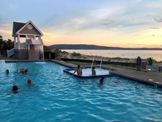 Pool overlooking the beach on Lake Michigan at Homestead Resort in Glen Arbor, Michigan. Lake Michigan Vacation, Michigan Vacations, Michigan Travel, Torch Lake Michigan Hotels, Weekend Trips, Vacation Trips, Vacation Spots, Beach Vacations, Weekend Getaways