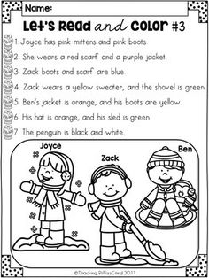 January Reading Comprehension Activities by Teaching Biilfizzcend Reading Comprehension Activities, Reading Fluency, Guided Reading, Following Directions Activities, Kids English, English Activities, School Worksheets, Winter Crafts For Kids, Readers Workshop