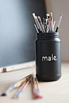blackboard paint on jars