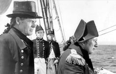Ryan with Peter Ustinov in BILLY BUDD ('62) (check out Young David McCallum in the rear) Peter Ustinov, Robert Ryan, David Mccallum, Deconstruction, Classic Hollywood, Dancers, Comedians, Captain Hat, Singer