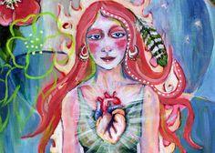 """Compassion 5"""" x 10"""" PRINT -human heart, fire art, pink blue and green, love art, flower art"""