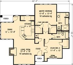 Country Craftsman House Plan 95506 Level One