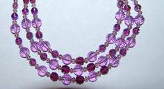 Fantastic Vintage Multi Triple 3 Strand Purple by Savesitall