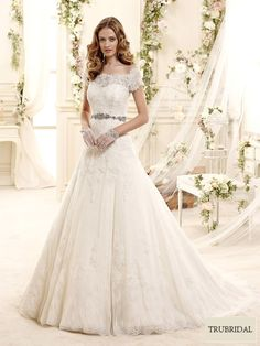 2015 A-Line Off The Shoulder Embroidery Beading Sweep Train Tulle Wedding Dresses | Trubridal.com