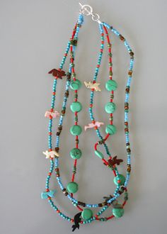 multi-strand necklace with turquoise beading and stone animals Turquoise Beads, Turquoise Necklace, Multi Strand Necklace, Beaded Necklace, Jewerly, Beading, Jewelry Design, Jewelry Making, Stone