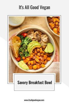I wanted to share one of my go-to brunch meals with you, just in case you are looking for one this weekend! This nourishing and filling Savory Breakfast Bowl. Filled with roasted sweet potatoes, seasoned chickpeas, avocado, mushrooms, kale and toast. It's savory, flavorful, and satisfying. Healthy Vegan Breakfast, Savory Breakfast, Breakfast Bowls, Sweet Potato Kale, Roasted Sweet Potatoes, Quick Easy Healthy Meals, Healthy Eats, Clean Recipes, Real Food Recipes