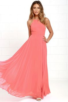 Lulus Exclusive! The Mythical Kind of Love Coral Pink Maxi Dress is simply irresistible in every single way! Lightweight Georgette forms a fitted bodice with princess seams and an apron neckline supported by adjustable spaghetti straps that crisscross atop a sultry open back. A billowing maxi skirt cascades from a fitted waistline into an elegant finale, perfect for any special occasion! Hidden back zipper with clasp.