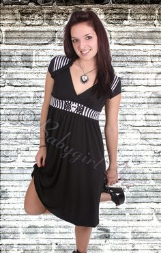 Rock Steady Clothing - Lock Up Lush Dress in Black & White with Skull Bow Detail