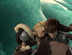 This is a really sad part...But, is it me, or does it seem like Astrid is holding onto Hiccup's hand/arm or something? Because where her arm is postioned...
