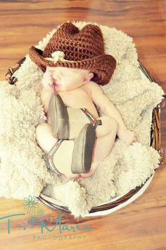Newborn photography little cowboy