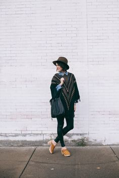 Poncho over chambray shirt!  I have the hat and clogs :)