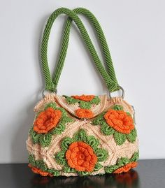 FLORAL BAG 6 - Hand Crochet Floral Bag with Linning and Inner Pockets