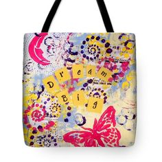 Dream Big Inspirational Tote Bag Reusable by EnchantedRoseShop