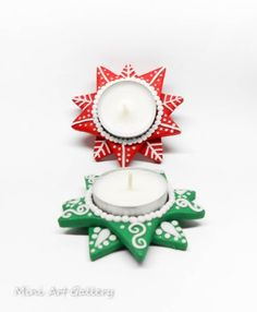 Tealight holders candle base polymer clay handmade Christmas home decoration