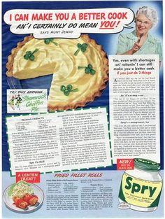 Vintage 1943 Spry Shortening Magazine Print Ad Shamrock Chiffon Pie Recipe