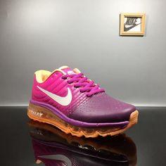 556583544f68 Discount Nike Air Max 2017 Leather Purple Peach Sports Shoes Free Shipping  -  69.88 Orange Nike