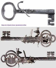 Key guns, 1600s - Jailers' keys were filled with gunpowder to create a primitive gun that could be detonated if there was any trouble when opening a cell door.