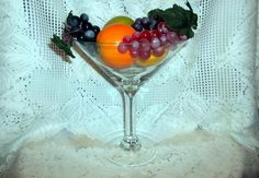 """Vintage Large 10"""" Inch Tall Clear Martini Glass #Unknown"""