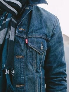Bundle up for chilly weather with a striped scarf and cozy Trucker jacket. Click this pin to shop. Denim Jacket Men, Blue Jean Jacket, Jeans Denim, Levis Jean Jacket Mens, Men Shorts, Denim Jackets, Style Brut, Teen Boy Fashion, Guy Fashion