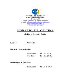 Horario CIT Las Merindades Julio y Agosto 2014