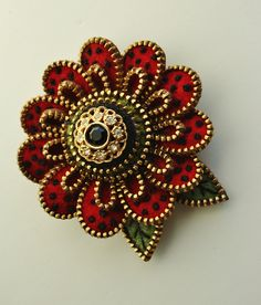 red gold crystal button brooch