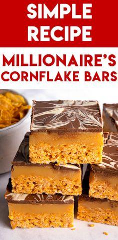 Gluten-free No-Bake Millionaire's Cornflake Bars Recipe Gluten Free Recipes For Dinner, Dairy Free Recipes, My Recipes, Baking Recipes, Recipies, Favorite Recipes, Cereal Bars, Tasty, Yummy Food