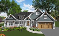 Find your dream craftsman style house plan such as Plan which is a 1986 sq ft, 2 bed, 2 bath home with 3 garage stalls from Monster House Plans. Craftsman Ranch, Craftsman Style House Plans, Cottage Floor Plans, Ranch House Plans, House Floor Plans, House Plans One Story, Dream House Plans, Bungalow, Home