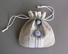 Small drawstring pouch White lace gift bag with by DewsCraftHouse