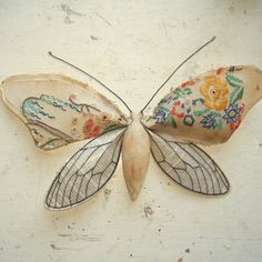 Moth made from new and vintage fabric. Shabby Chic. by MisterFinch